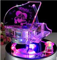Handicrafts Music Box Crystal Piano Glass Pianoforte Wedding Decorative GrandPiano