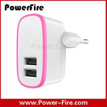 Wholesale colorful KU plug dual usb wall charger