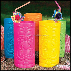 Tiki Cups Plastic Glasses Luau Beach cup Tropical Party Decor Favor,custom plastic beach cup manufacturer