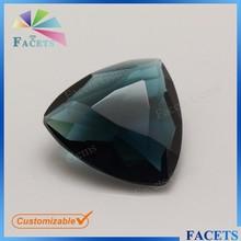 FACETS GEMS Fancy Cut Dark Green Trillion Glass Gemstone Wholesale