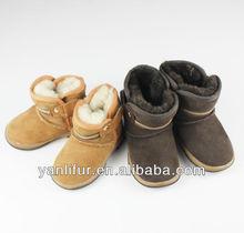 nuevo bebé niñas deinvierno la nieve negro marrón beige de piel de oveja botas zapatostamaño 4