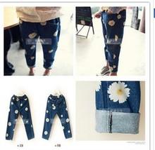 venta al por mayor 2014 nuevo de la moda otoño las niñas pequeñas de impresión margarita pantalones vaqueros