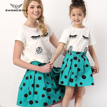2015 my mother and I summer dot printed skirt Mother and daughter outfit skirt