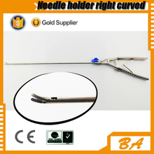 China supply laparoscopic right curved needle holder/different types of needle holders with CE certificate