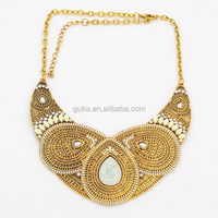 Shinning vintage rhinestone women's choker gold necklace