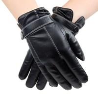 fashion black glove leather, mens goatskin glove with wrap band on hand