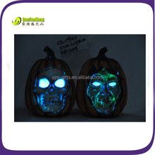 Polyresin halloween pumpkin with solar light for holiday decoration