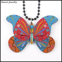 Newei 2015 Fashion Jewelry Accessories Multicolor Animal Printing Pattern Pendant Acrylic Butterfly Necklace