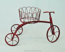 Wholesale red wrought iron wire mesh bicycle basket flower pot stand