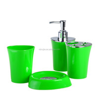 2015 new fashion plated design 4 pcs plastic bathroom accessories set high perceived value3304