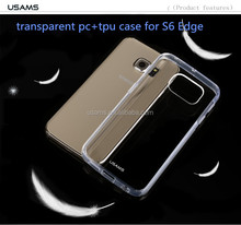 China Manufacturer USAMS brand transparent PC&TPU cell phone cases for S6 Edge G9250
