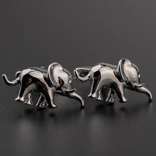 Silver Elephant Animal Cufflinks Male French Shirt Cuff links For Men's Jewelry Gift