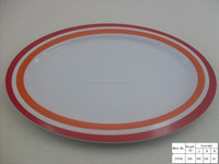 Top selling food safety 12 inch melamine oval white dinner plate