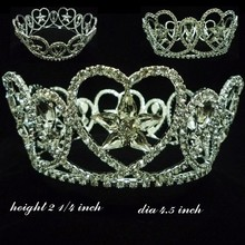Fashion metal silver full rhinestones flower crown accessories large pageant full circle royal crown decoration
