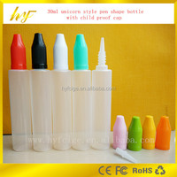 the PEN and UNICORN 30ml PE plastic e liquid bottle with childproof cap from China