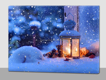 winter lamp led canvas picture,led picture on canvas