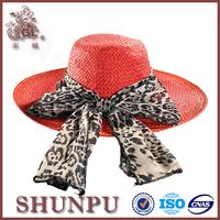 lady red fashion paper raffia handmade straw hats with decroation