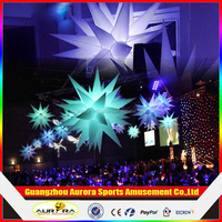 hanging inflatable lighting decoration/lighting led star for party decoration