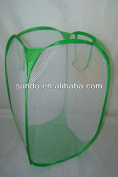 spring stainless steel wire and polyester materials folding&collapsible fabric cartoon animal laundry basket with lid