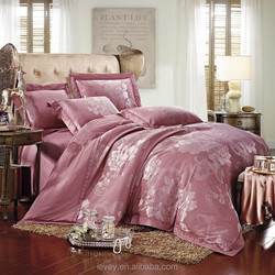 competitive price elegant pink home textile new European rounded sheet design embroidery bedding set