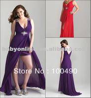 6773W Hi-low silhouette with dramatic v-shaped neckline and back with hints of sparkle Plus size prom evening gowns