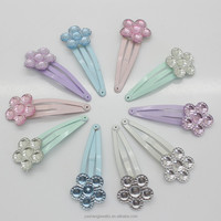 45mm mini plastic flower decorated snap hair clips 12/pack