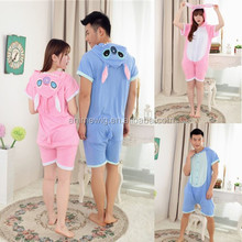 Wholesale Kartoon Summer Sleepwear Unisex Adult Cotton Blue/Pink Stitch Animal Onesie Cosplay Costume Summer Pajamas Costume