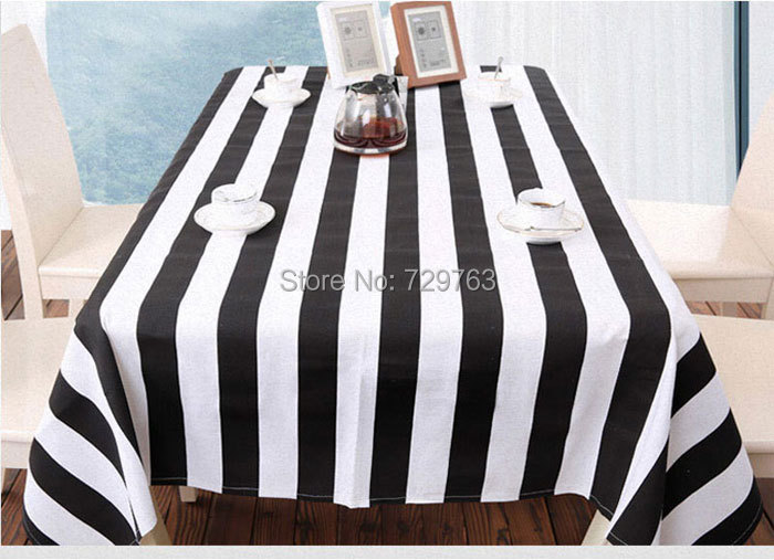 Wholesale Black And White Striped Tablecloth Dining Table