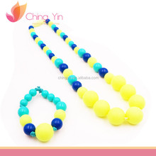 Chic Baby Girls Attractive Colors Beaded Necklace and Elastic Bracelet Kids Jewelry Set