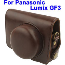 Retro Leather Camera Bag for Panasonic GF3,With Short Lens