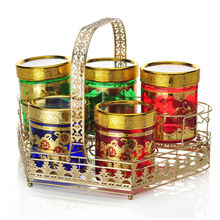 Golden color glass canisters set for Indonesia market