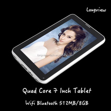 tablet 7'' A33 Quad core Android 4.4 512MB/8GB wifi bluetooth camera 7 inch 2G tablet