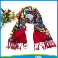 printed tassel indian silk shawl