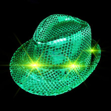 LED Flashing Sequins Fedora Hat for St partrick 's Day Shamrock Hats