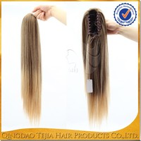 Wholesale cheap blonde color synthetic hair ponytail clip claw