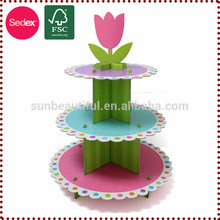 Calidad superior de tres capas de cumpleaños torta centro de mesa