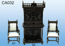 antique style showroom handmade wood craft miniature chair cabinet sets furniture