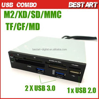 "USB 2.0 Internal Card Reader + USB 3.0 HUB Support M2 XD SD TF CF MD MS Motherboard 9Pin/19pin to 3.5"" Floppy Bay Front Panel"