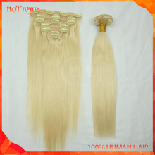 100% Brazilian Hair Clip-on Hair Extension Top Quality Lightest Blonde Clip In Hair Extensions For Children