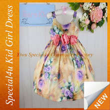 2015 flower pattern girls party dresses,fashion children frocks designs in baby dress party LYD-211