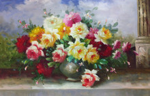 Factory Price Best Service High Quality Assured Clorful Rose Oil Pictures, Oil Painting Wall Art for Home Decoration