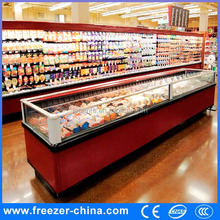 Supermarket top open island freezer commercial freezer and refrigerator outdoor ice storage bin freeze...