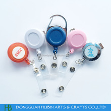Plastic rotating retractable badge reel with swivel clip clear strap