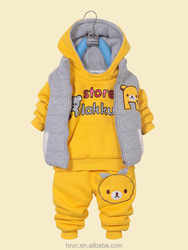 Winter Kids clothes Korean style thick kids hoodies 3pcs kids suits with cartoon images