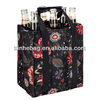 black flower design non woven tote wine bag/Liquor bags