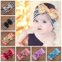 In stock baby glitter large bow turban headband headwrap, girls gold sequin bow headband