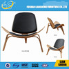 A022 Factory Offer Wooden Classical Leisure black pu leather Chair classic wood leather lounge chair