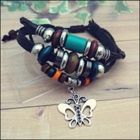 NPL006 2014 New Genuine Leather Bracelet Vintage Roman beaded Butterfly Charm Bracelets Men Bangles For men jewelry