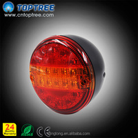 """Sealed, 4"""" Round Trailer Clearance and Side Marker Light, Flush Mount - Red"""