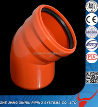 Reliable quality PVC pipe and fittings 45 degree PVC elbow with rubber joint